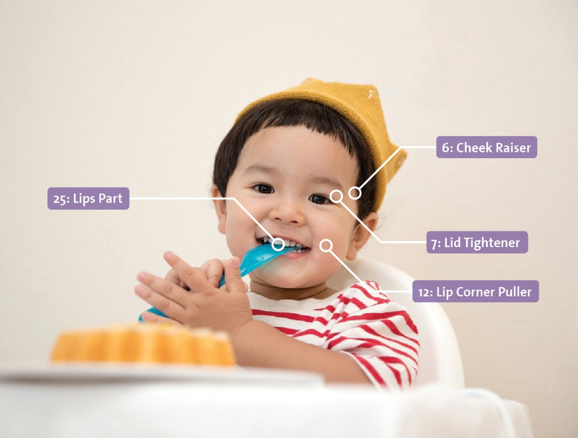 baby facereader asian boy yellow hat eating action units