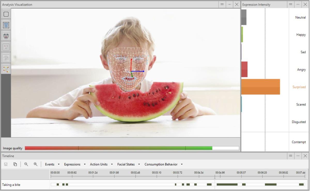Boy eating melon facereader expressions