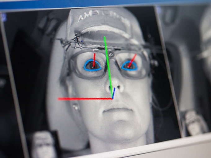 Eye tracking software on a man in a car