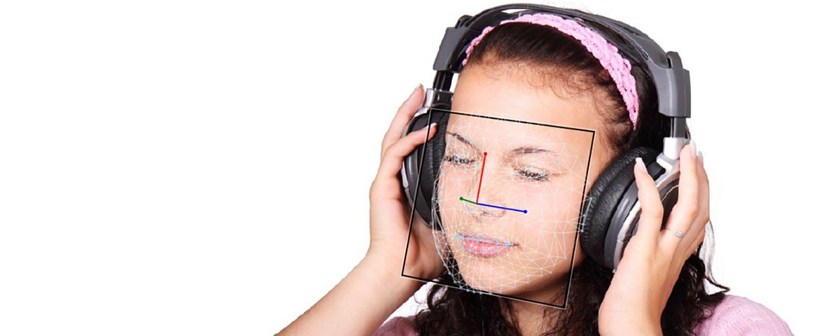 FaceReader Girl Music Headphones Listening