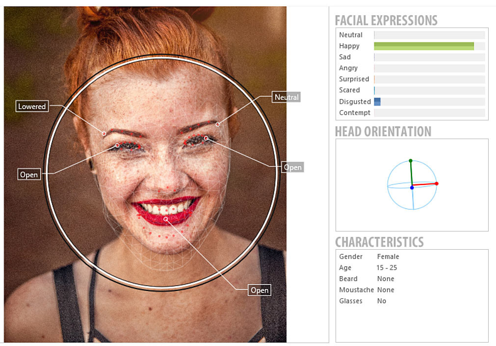 FaceReader measure emotions young female happy