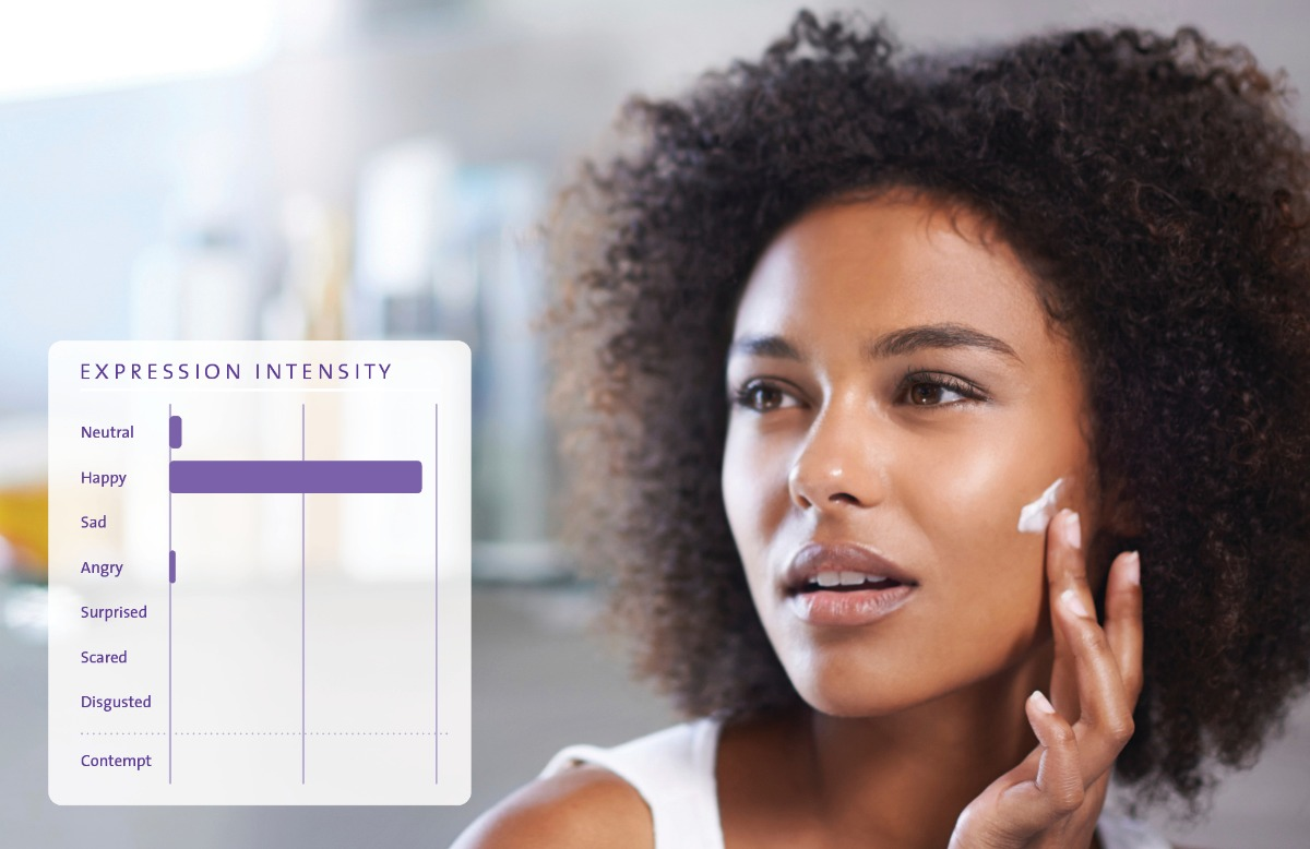 FaceReader putting on lotion afro american woman