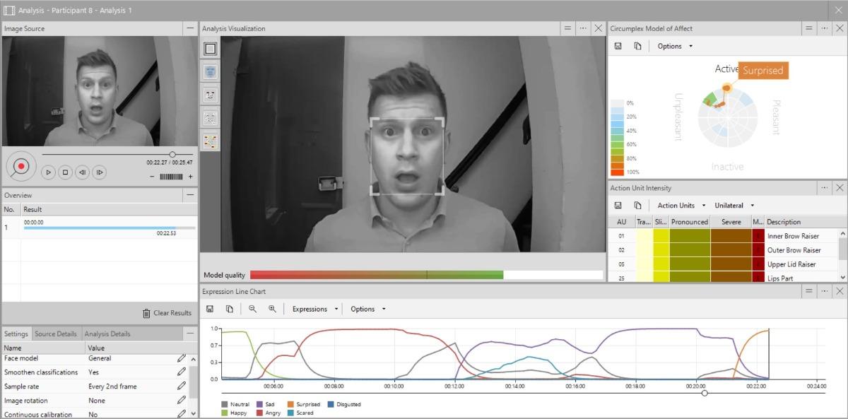 FaceReader screenshot IR recording surprised