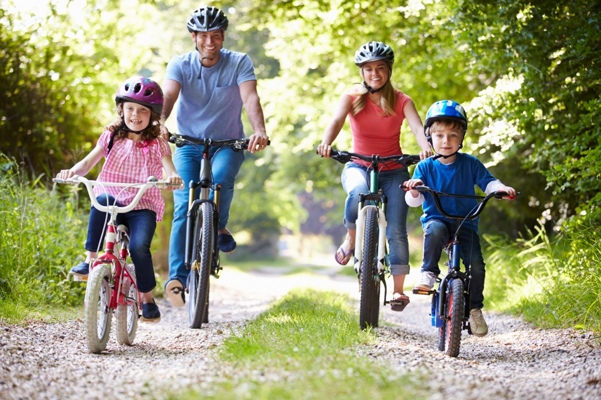 family-biking-forest