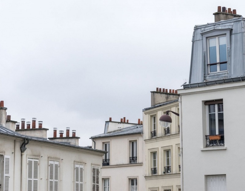 Houses in Paris France gray sky