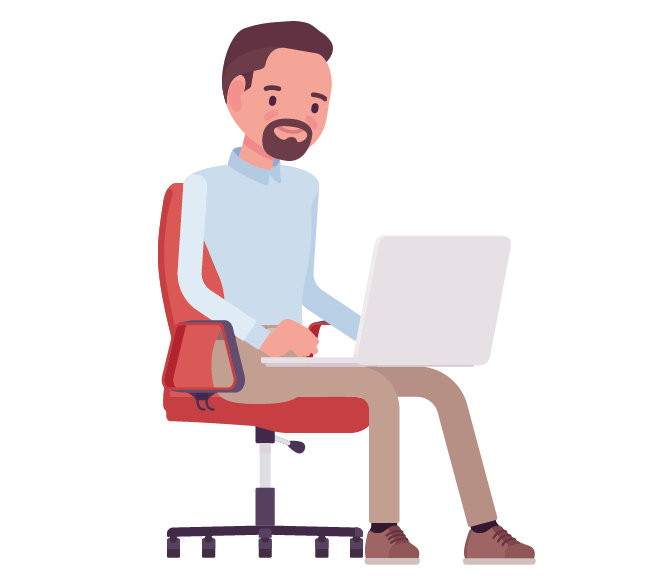 observer infographic features coding man beard chair