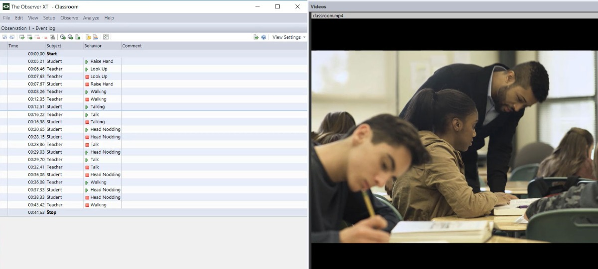 Screenshot The Observer XT classroom teacher and teenage student