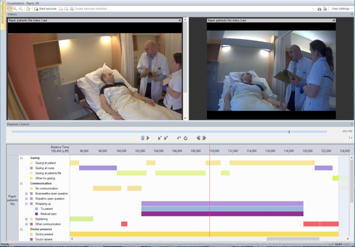 Screenshot The Observer XT doctor patient interaction visualization