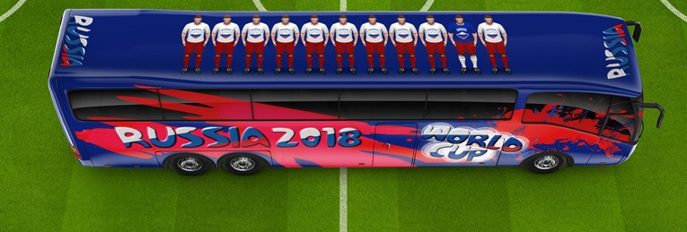 Soccer football world cup bus russia