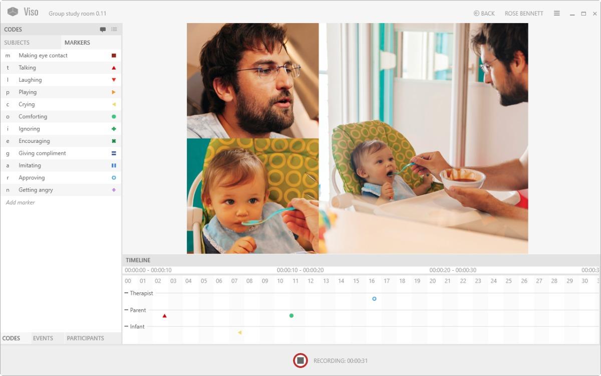 Viso screenshot father feeding baby 3 cameras timeline
