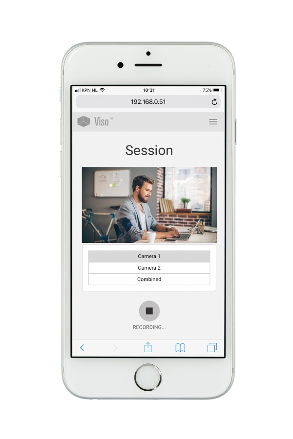 Start and stop recording a session with Viso Web App