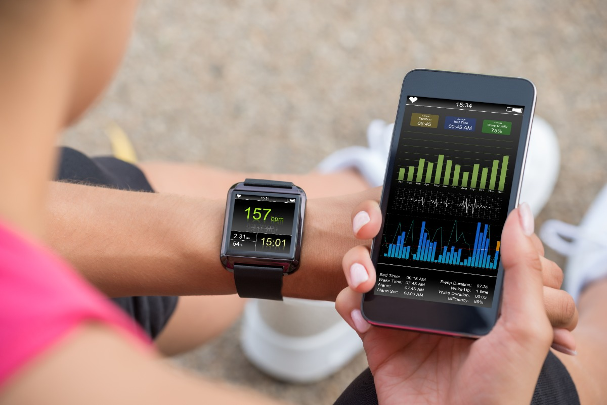 Woman sport phone and watch