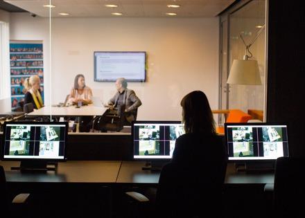 Aegon lab people discussing control room MediaRecorder