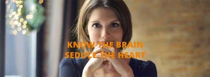 Female looking know the brain seduce the heart