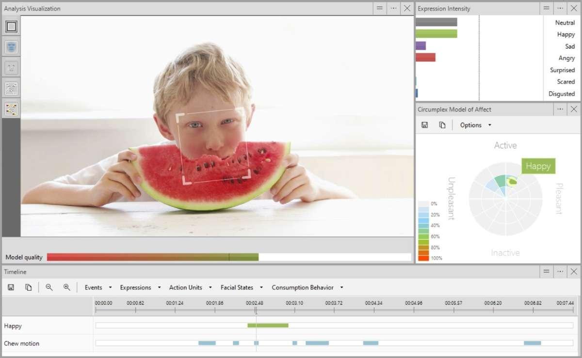 Screenshot FaceReader consumption behavior boy eating melon